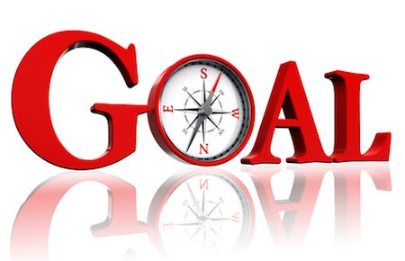 goal red word and conceptual compass